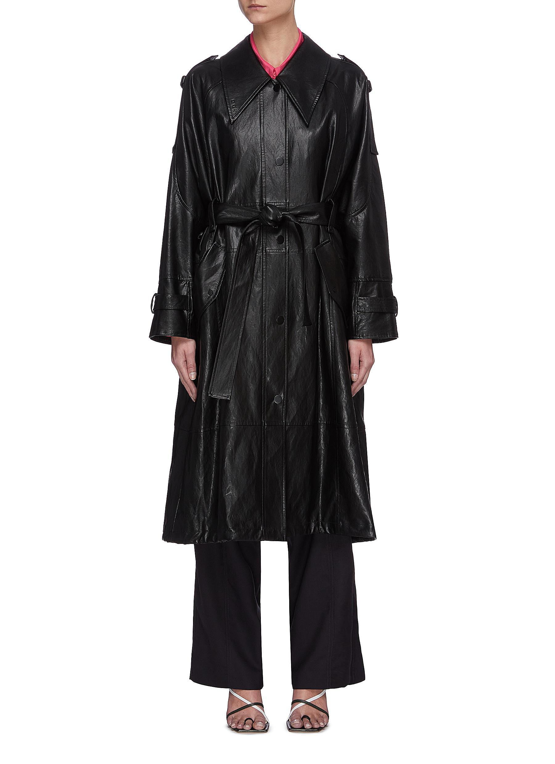 shop Low Classic Drawstring hem leather coat online