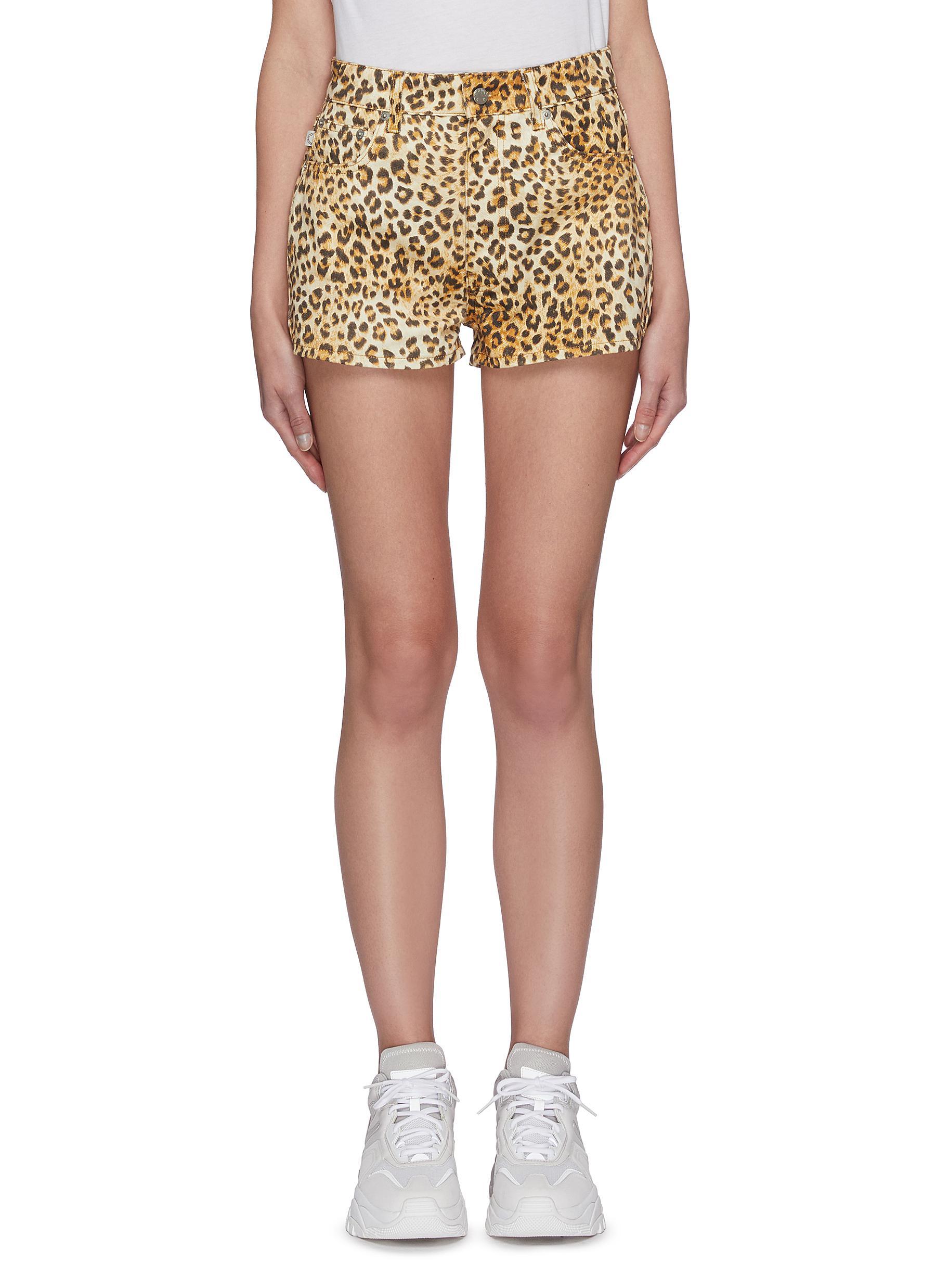 shop Fiorucci Angel patch pocket leopard print shorts online