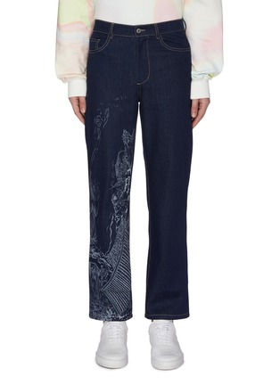 Main View - Click To Enlarge - FENG CHEN WANG - Chinese traditional print scene jeans