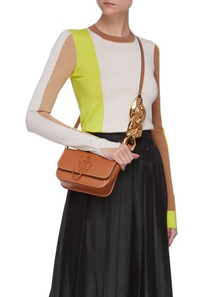 Figure View - Click To Enlarge - JW ANDERSON - Anchor chain midi calfskin leather crossbody bag