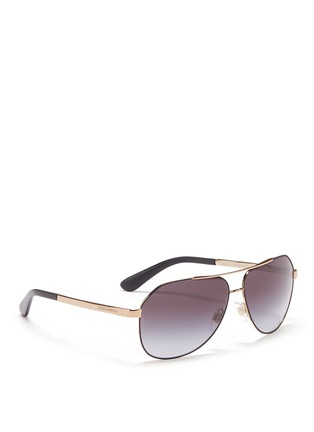Figure View - Click To Enlarge - Dolce & Gabbana - Metal temple angled aviator sunglasses