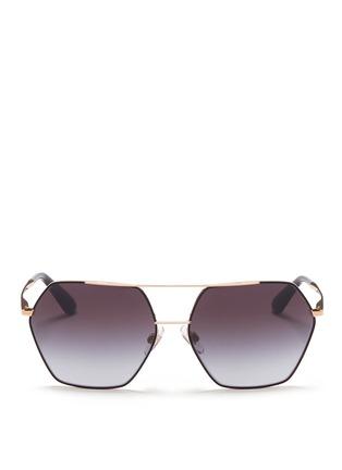 Main View - Click To Enlarge - Dolce & Gabbana - Metal temple hexagon aviator sunglasses