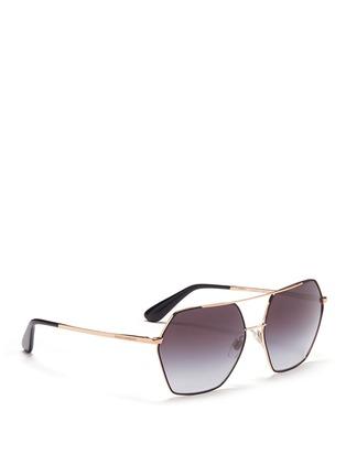 Figure View - Click To Enlarge - Dolce & Gabbana - Metal temple hexagon aviator sunglasses