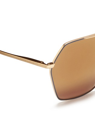 Detail View - Click To Enlarge - - - Metal temple hexagon aviator sunglasses