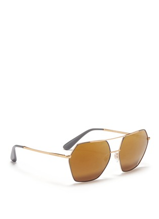 Figure View - Click To Enlarge - - - Metal temple hexagon aviator sunglasses