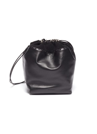 Main View - Click To Enlarge - JIL SANDER - Crochet panel drawstring leather bag
