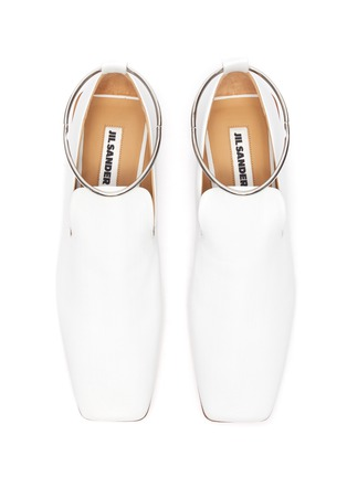 Detail View - Click To Enlarge - JIL SANDER - METAL ANKLE RING LEATHER BALLERINA FLATS