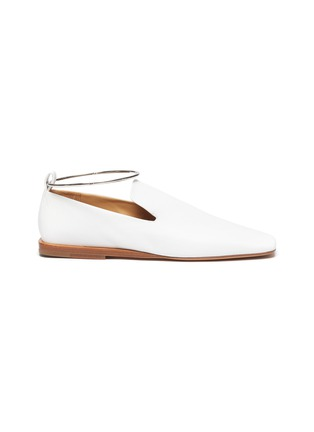 Main View - Click To Enlarge - JIL SANDER - METAL ANKLE RING LEATHER BALLERINA FLATS