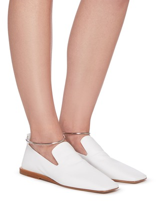 Figure View - Click To Enlarge - JIL SANDER - METAL ANKLE RING LEATHER BALLERINA FLATS
