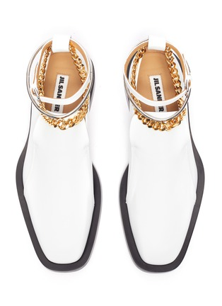 Detail View - Click To Enlarge - JIL SANDER - Metal ankle ring chain element leather loafers