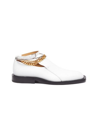 Main View - Click To Enlarge - JIL SANDER - Metal ankle ring chain element leather loafers