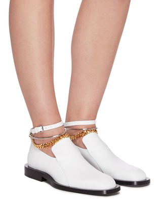Figure View - Click To Enlarge - JIL SANDER - Metal ankle ring chain element leather loafers