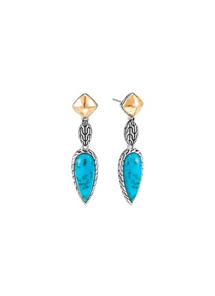 Main View - Click To Enlarge - JOHN HARDY - 'Classic Chain' turquoise 18k gold sterling silver sugarloaf drop earrings
