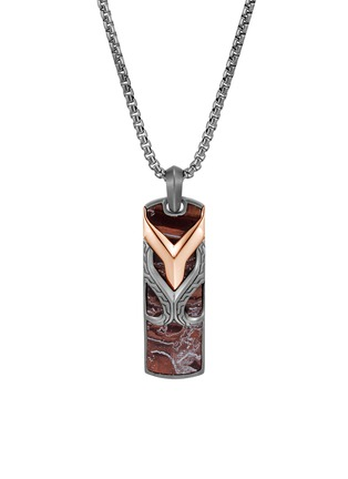 Detail View - Click To Enlarge - JOHN HARDY - 'Asli Classic Chain' tiger eye sterling silver dog tag pendant necklace