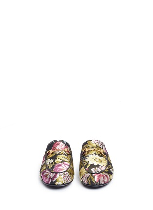 Front View - Click To Enlarge - GUCCI - 'Princetown' horsebit vamp floral jacquard slide loafers