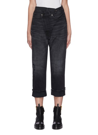 Main View - Click To Enlarge - R13 - Cross over closure distressed jeans