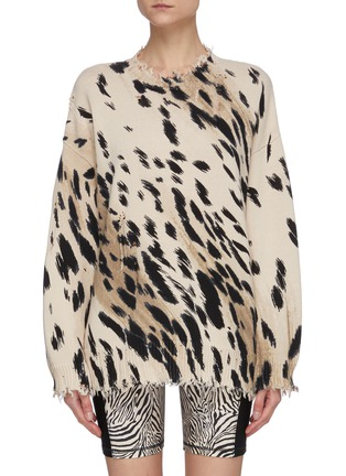 Main View - Click To Enlarge - R13 - Cheetah print frayed hem oversized cotton sweater