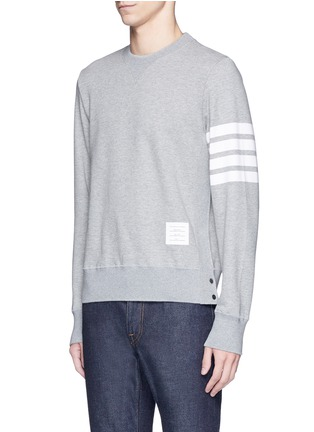 Front View - Click To Enlarge - Thom Browne - Stripe sleeve side split sweatshirt