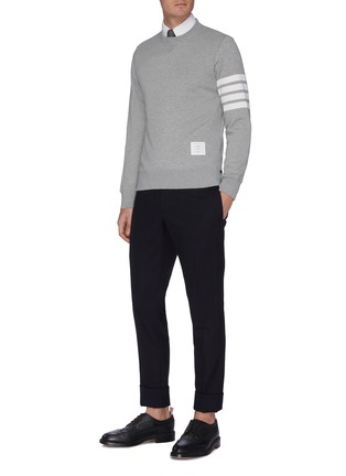 Figure View - Click To Enlarge - Thom Browne - Stripe sleeve side split sweatshirt