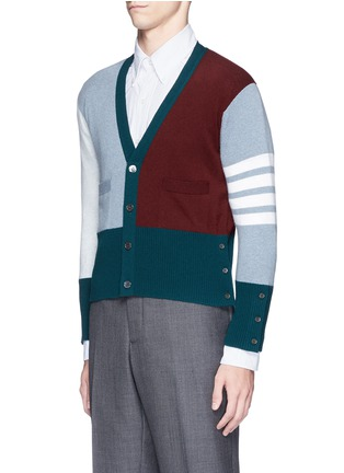 Front View - Click To Enlarge - Thom Browne - Colourblock stripe cashmere cropped cardigan