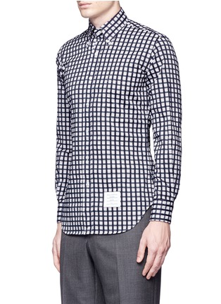 Front View - Click To Enlarge - Thom Browne - Buffalo check cotton dobby shirt