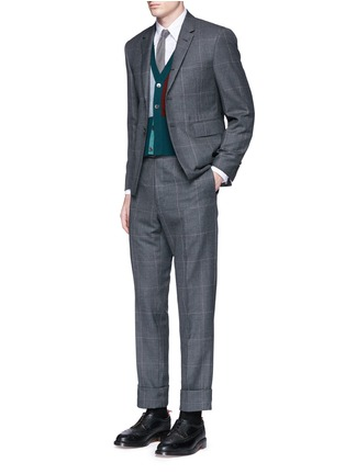 Figure View - Click To Enlarge - THOM BROWNE - Stripe cotton Oxford shirt