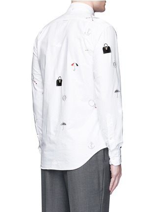 Back View - Click To Enlarge - THOM BROWNE - Travel icon embroidery hopsack shirt