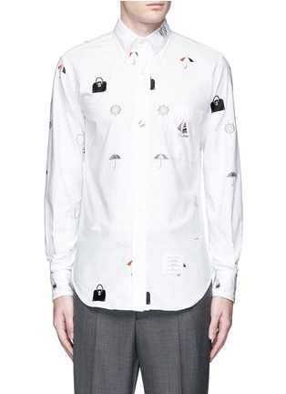 Main View - Click To Enlarge - THOM BROWNE - Travel icon embroidery hopsack shirt