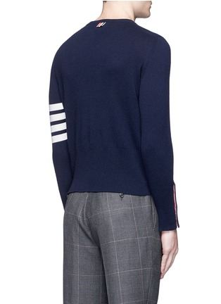 Back View - Click To Enlarge - Thom Browne - Stripe sleeve cashmere sweater