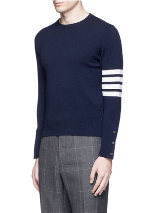 Front View - Click To Enlarge - Thom Browne - Stripe sleeve cashmere sweater