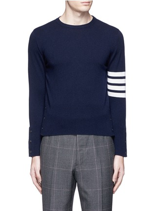 Main View - Click To Enlarge - Thom Browne - Stripe sleeve cashmere sweater