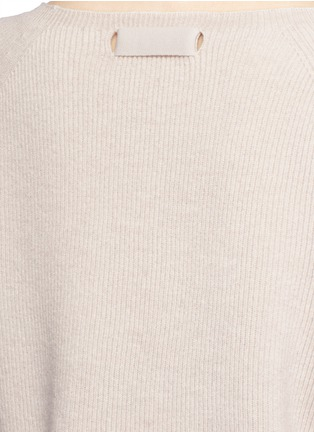 Detail View - Click To Enlarge - Helmut Lang - Ribbon sleeve wool-cashmere ribbed sweater