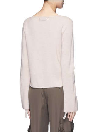 Back View - Click To Enlarge - Helmut Lang - Ribbon sleeve wool-cashmere ribbed sweater