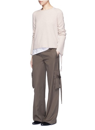 Figure View - Click To Enlarge - Helmut Lang - Ribbon sleeve wool-cashmere ribbed sweater