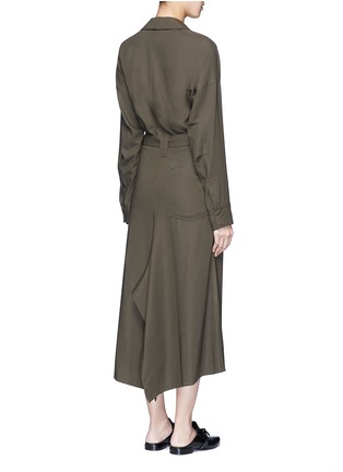 Back View - Click To Enlarge - Helmut Lang - Asymmetric back hem belted shirt dress