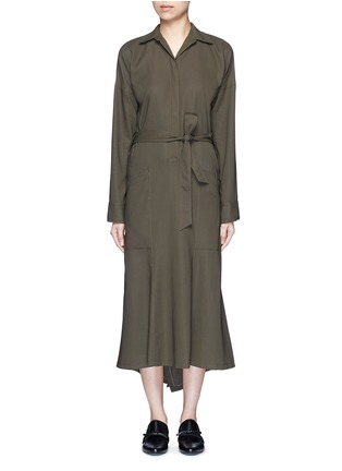 Main View - Click To Enlarge - Helmut Lang - Asymmetric back hem belted shirt dress