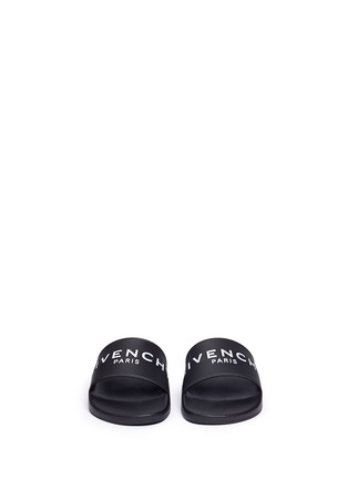 Figure View - Click To Enlarge - Givenchy - Logo print rubber slide sandals