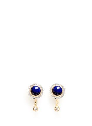 Main View - Click To Enlarge - Pamela Love - 'Gravitation' diamond pavé 18k gold lapis earrings