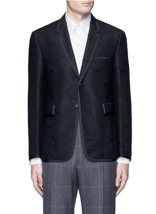 Main View - Click To Enlarge - Thom Browne - 'Hector' wool stamp jacquard blazer