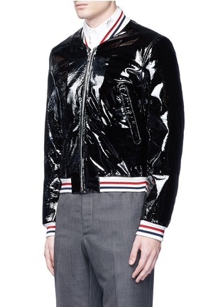 Front View - Click To Enlarge - Thom Browne - Padded patent leather varsity jacket