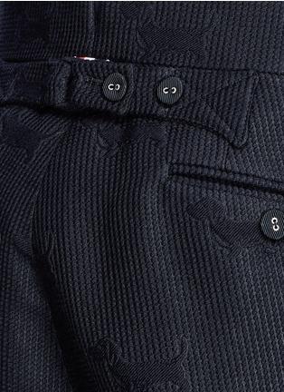 Detail View - Click To Enlarge - Thom Browne - 'Hector' wool stamp jacquard pants