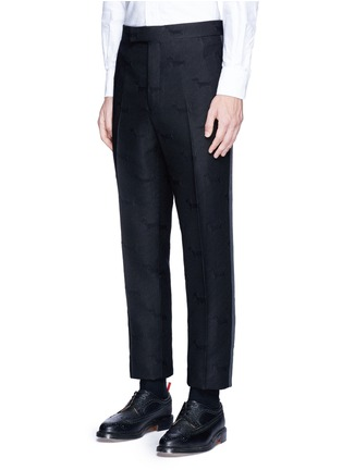 Front View - Click To Enlarge - Thom Browne - 'Hector' wool stamp jacquard pants