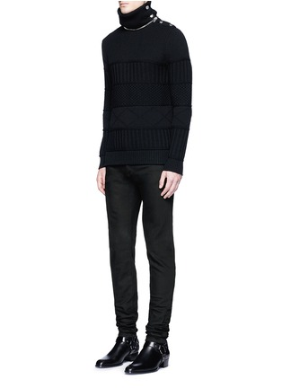Figure View - Click To Enlarge - Givenchy - Detachable turtleneck wool-cotton sweater