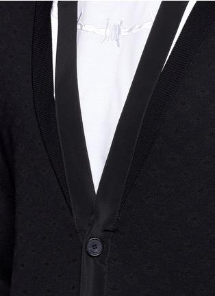 Detail View - Click To Enlarge - Givenchy Beauty - Ribbon trim geometric jacquard cardigan