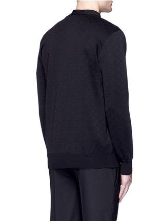 Back View - Click To Enlarge - Givenchy Beauty - Ribbon trim geometric jacquard cardigan