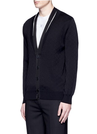 Front View - Click To Enlarge - Givenchy Beauty - Ribbon trim geometric jacquard cardigan