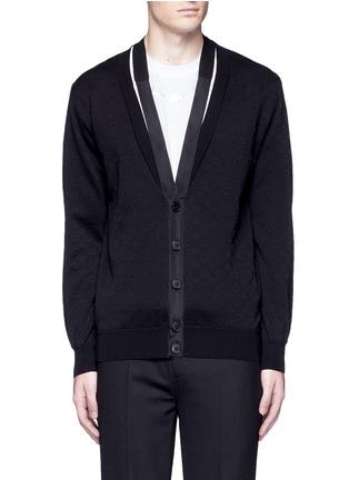 Main View - Click To Enlarge - Givenchy Beauty - Ribbon trim geometric jacquard cardigan