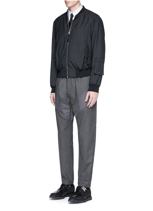 Figure View - Click To Enlarge - Givenchy - Diagonal panel flannel pants
