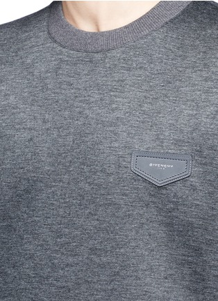 Detail View - Click To Enlarge - Givenchy - Leather logo patch marled scuba jersey sweatshirt