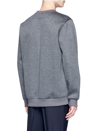 Back View - Click To Enlarge - Givenchy - Leather logo patch marled scuba jersey sweatshirt